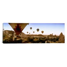 """East Urban Home Panoramic Hot Air Balloons over Cappadocia at Sunrise, Central Anatolia Region, Turkey Photographic Print on Canvas Size: 24"""" H x 7..."""