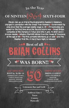 50th Birthday Invitation designed by me at Nic's Designs.
