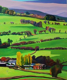 This is a painting of the movement of shadows cast by the fleeting clouds over the a hill farm in the Brecon Beacons.