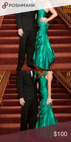 """Green Night Moves Prom Dress Only worn once. Altered to fit 5'6"""" in heels, or 5'9"""". Corset back, one shoulder, silver beading Night Moves Prom Collection Dresses Prom"""