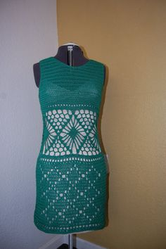 Crochet Dress in Verde Cotton Size Medium/Large by LoyesThread, $75.00
