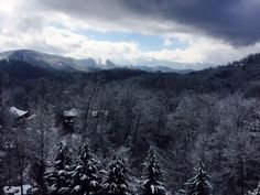 Snow this weekend, view from the deck of a cabin in Hidden Valley Resort above Gatlinburg, Tennessee