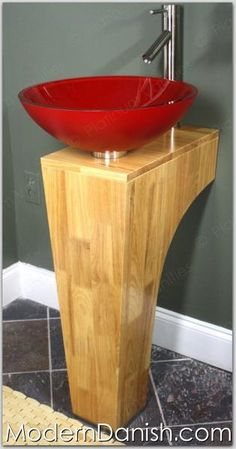 Red Glass Vessel Sink   ModernDanish.com