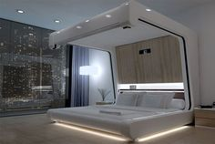 Somnus New bed by Yoo-Pod Ltd. provides with Internet connection, audio-visual system with a drop-down screen and mechanized curtains.