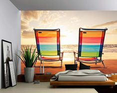 Picture Sensations Canvas Texture Wall Mural, Seascape Sunrise Sea Ocean Wave Sunset Beach, Self-Adhesive Vinyl Wallpaper, Peel & Stick Fabric Wall Decal - Vinyl Wallpaper, Wallpaper Designs For Walls, Self Adhesive Wallpaper, Adhesive Vinyl, Large Wall Murals, Wall Stickers Murals, Wall Decals, Ocean Wave, Sea And Ocean