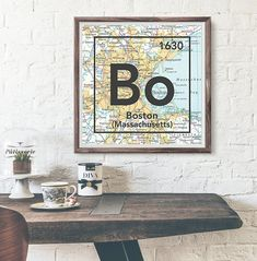 Boston Massachusetts Bo Vintage Periodic Map ART PRINT This makes the perfect housewarming, Christmas, couples or birthday gift of your/their home town or present city. *The date in the right corner o