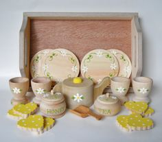 Tea Set Wooden Tea Set Tea Set with Tray Girls by 2HeartsDesire, $62.50 Proudly Made With Our Hands