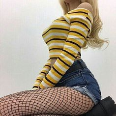 Bottoms - fishnet tights-black Source by Edgy Outfits, Grunge Outfits, Grunge Fashion, Look Fashion, Korean Fashion, Girl Outfits, Fashion Outfits, Womens Fashion, 90s Fashion