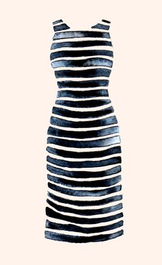 Stripe Dress Watercolour