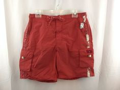 TOMMY HILFIGER Men's Board Shorts Bathing Suit Trunks Swimming Rust Red Size M #TommyHilfiger #BoardShorts