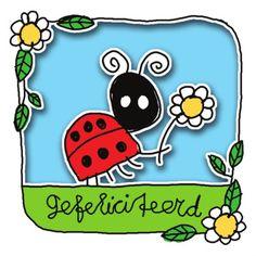 Lieveheersbeestje met bloem- Greetz Happy Birthday Kids, Graphic Illustration, Birthday Cards, Ladybugs, Funny, Crafts, Draw, School, Image