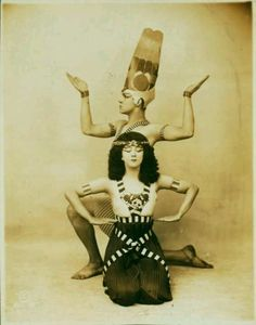 """Ruth St Denis and her husband Ted Shawn in """"Dance of the Rebirth"""" from the Egyptian section of the Review of Dance Pageant, 1916"""