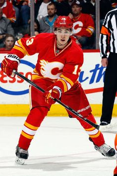 Johnny Gaudreau in the Calgary Flames Throwback Jersey. Photo by Gerry Thomas/NHLI via Getty Images. #NHL #Hockey