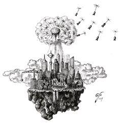 Misconception of Flowerpower Series --> Dandellion of Destruction . . #drawing #sketch #crosshatch #pen #retro #war #flowerpower #flower #hatch #city #fantasy #atom #bomb #nuclear #mushroomcloud #blackandwhite #dandellion #explosion #pencil #engraving #blackink