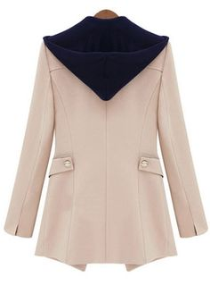 Designer Hooded Collar Long Sleeve Woman Coat With Button