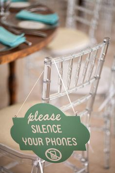 A sweet way to ask guests to quiet their phones during a wedding ceremony! photo by Elizabeth Lloyd and Dave Getzschman | via junebugweddings.com