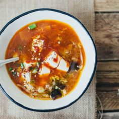 Sriracha, chili oil, and crushed red pepper kick up the heat on this extra hot Hot and Sour Soup.