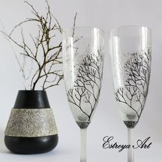 Hand painted wedding glasses champagne flutes by EstreyaArtShop