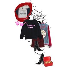 postcard from far away by dear-inge on Polyvore featuring Hollister Co., Valentino, WithChic, Home Basics, American Retro, redlips and retro