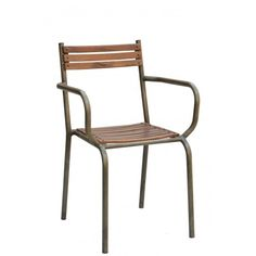 Industrial Wooden Strip Chair w/Arms