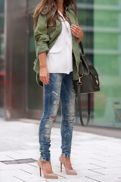 Military Style: Johanna Olsson is wearing a khaki shirt from Denim & Supply by Ralph Lauren
