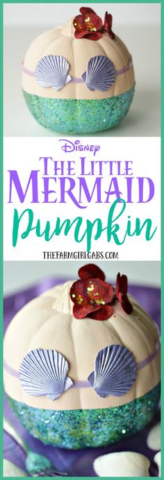 Dinglehoppers, Snarfblatts and this DIY Disney The Little Mermaid Pumpkin are the perfect way to celebrate Halloween! Kids will love making this fun craft. Casa Halloween, Halloween Snacks, Holidays Halloween, Halloween Crafts, Happy Halloween, Halloween Ideas, Disney Halloween Decorations, Creepy Halloween, The Little Mermaid Halloween Costume