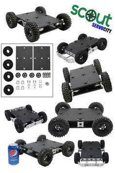 """The Scout™ offers a great starting platform for any robotics project. With 624rpm planetary gearmotors and high-traction 4.3"""" off-road tires, this is one powerful platform! The 7.5"""" x 10.5"""" chassis plates offer a large base for customization and electronics. We can't wait to see what you do with this stealthy, low-profile robot; be sure to send us photos of your custom build!"""