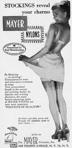 Lol:) Apparently, stockings reveal your charm; Advertising Signs, Vintage Advertisements, Vintage Ads, Vintage Posters, Retro Ads, Vintage Girdle, Vintage Underwear, Vintage Stockings, Nylon Stockings