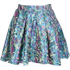 MISS JOLIE LONDON DISCO GIRL Metallic Multicolor Flared Skirt ($36) ❤ liked on Polyvore featuring skirts, bottoms, saias, metallic skater skirt, colorful skirts, blue skirt, multicolor skirt and multi color skirt
