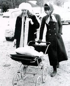 Capucine and Audrey in coat by Givenchy walking with Luca in pram, Rome, November 1970 | by skorver1