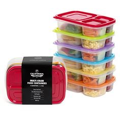 [6 Pack] Premium Eco Friendly 3-Compartment Bento Lunch Box Containers for Kids, Multi Color, Microwave, Dishwasher Safe & Reusable ● By California Home Goods California Home Goods http://www.amazon.co.uk/dp/B01535KBSC/ref=cm_sw_r_pi_dp_cmY1wb02VP9VC