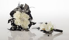 Gorgeous White Rose Prom Corsage with Black Accents -- Shown with Matching Boutonniere Prom Corsage, Flower Corsage, Cream Roses, White Roses, Black Corsage, Homecoming Ideas, Prom Flowers, School Dances, Prom Looks