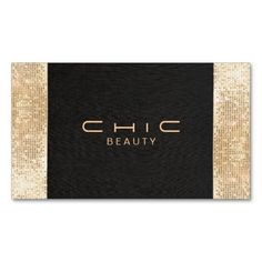 Elegant Chic Black Faux Gold Sequin Beauty Standard Business Card