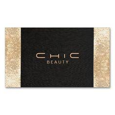 Elegant Chic Black Faux Gold Sequin Beauty Standard Business Card