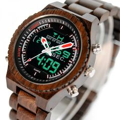 Led Digital Wood watches for men style internet unique products shops fashion fo Wooden Watches For Men, Best Watches For Men, Cool Watches, Army Watches, Rolex Watches, Hand Watch, Classic Man, Accessories Store