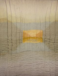Fiber Artist Karen Henderson - Choice -- Hand woven linen, pineapple ramie, rayon paper w/silk, silk/stainless steel; dye & discharge, with stitching, layered with metallic and linen fabrics and gold leaf