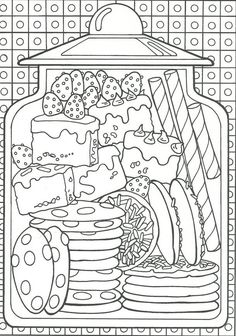 Goodie Jar Food Coloring Pages Candy Coloring Pages, Ice Cream Coloring Pages, Monster Coloring Pages, Quote Coloring Pages, Cat Coloring Page, Printable Adult Coloring Pages, Mandala Coloring Pages, Colouring Pages, Coloring Books