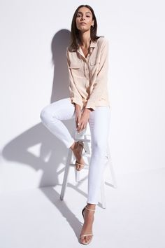 I NEED a new pair of white skinny jeans. Similar to this style, but NO distressing please.