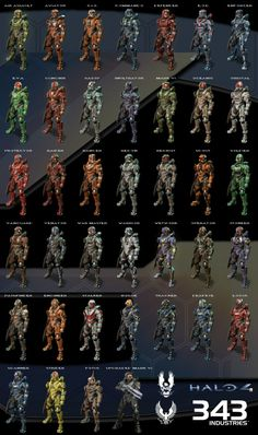 Here I give you a compilation of all the armors available in the Halo 4 multiplayer. Master Chief is also at the bottom so you can compare his armor to the others. They way these pics were shown by. Halo Game, Halo 3, Unsc Halo, John 117, Halo Cosplay, Halloween Costumes To Make, Halo Armor, Halo Spartan, Halo Master Chief