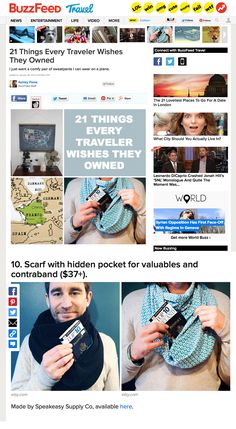 21 Things Every Traveler Wishes They Owned >>> Awesome travel ideas in here and they featured our scarves I can't believe it!!!!