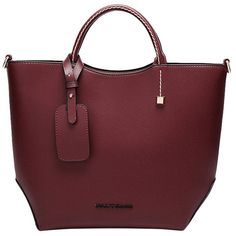 Blackfive High Class Taiga PU-leather Tote (38 CAD) found on Polyvore featuring bags, handbags, tote bags, blackfive, purses, bolsas, zip tote bag, red handbags, burgundy purse and burgundy handbag