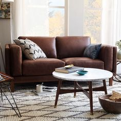 Dekalb Lovesesat, Aspen Leather, Fog, Acorn at West Elm - Compact Sofas - Couches - Living Room Furniture Coastal Living Rooms, Home Living, Living Room Interior, Living Room Furniture, Modern Furniture, Living Room Decor, Furniture Layout, Modern Living, Mid Century Coffee Table