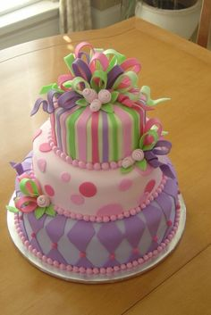 """10"""", 8"""" and 6"""" round cakes, decorated all in fondant...."""