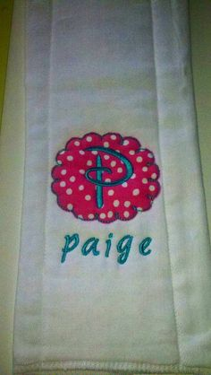 Personalized burp cloth find us on Facebook for more ideas! Sewcutechics