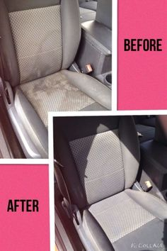 Clean the car seat with club soda/dawn/white vonegar mixture. Smart DIY tips and ideas to clean the home - 20 Cleaning Tips for Neat Freaks - One Crazy House Car Cleaning Hacks, House Cleaning Tips, Cleaning Solutions, Spring Cleaning, Car Hacks, Car Interior Cleaning, Detail Car Cleaning, Cleaning Inside Of Car, Household Tips