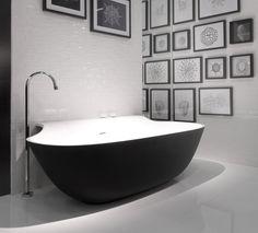Zwart/wit badkamer. Heel stijlvol!