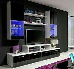 black and white cabinet tv display setting