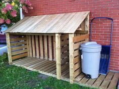 Firewood Rack - put shingles on roof and build where roses are between trash cans in back. Could do cinderblocks underneath for aeration