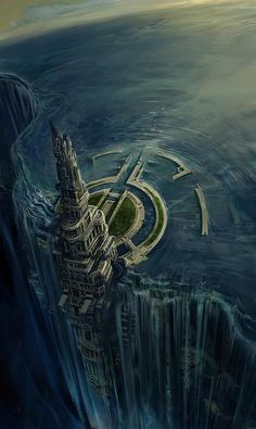 Concept Art Waterfall City by Joshua James Shaw (idea of the waterfall only building is desguised because it is covered with mirrors)