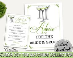 Advice Bridal Shower Advice Modern Martini Bridal Shower Advice Bridal Shower Modern Martini Advice Green White party plan, prints ARTAN - Digital Product bridal shower wedding bride to be bridesmaids
